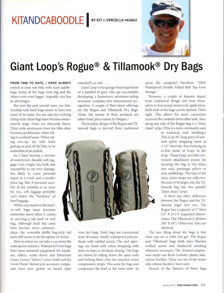 BMW Owners News Tillamook Dry Bag Rogue Dry Bag review
