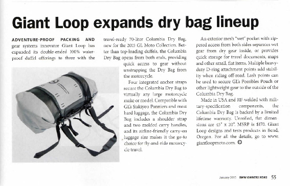 Giant Loop Columbia Dry Bag in BMW Owners News