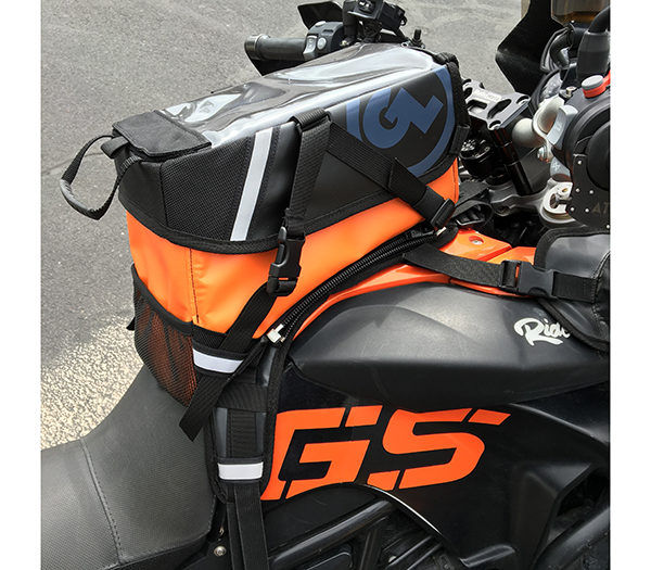 limited edition orange kiger tank bag on bmw f800gs