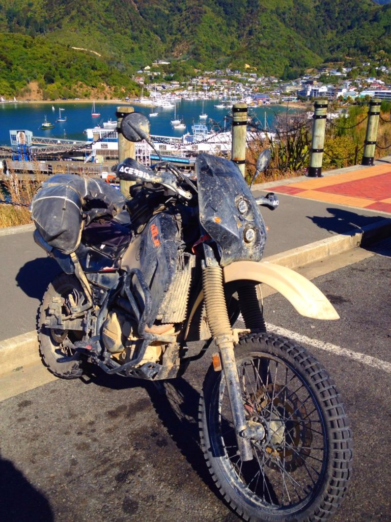 Kawasaki KLR650 with Coyote Saddlebag in New Zealand