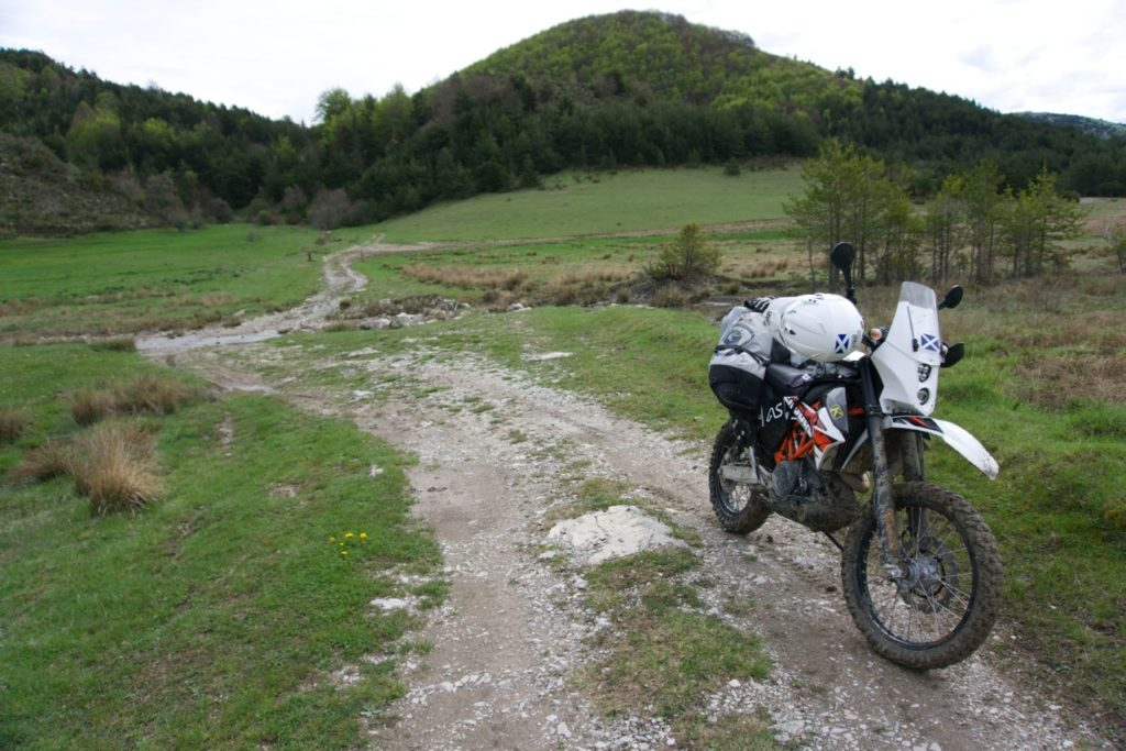 KTM 690 Enduro with Coyote Saddlebag, Fandango Tank Bag, Rogue Dry Bag