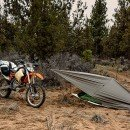 Camping Tarp Attached to motorcycle