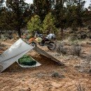Camping Setup with tarp, Bivi and bike