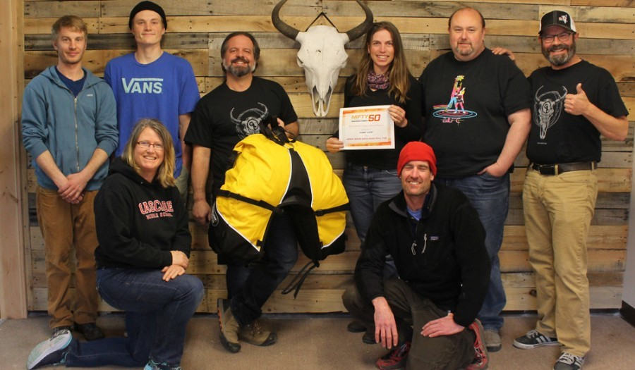 Team Giant Loop with our 2017 Nifty 50 award from Powersports Business for the new Great Basin Saddlebag Roll Top