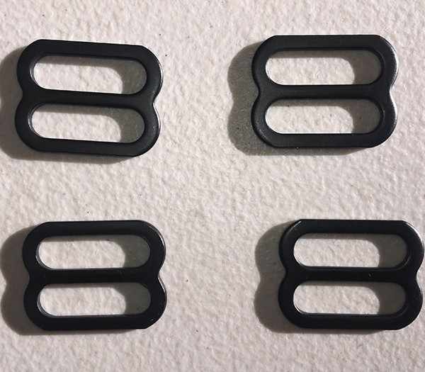 Giant Loop Pkg of 4 Steel Tri-Glide Slider Buckles in black - perfect for locking webbing anchor straps into Giant Loop's stainless steel GL Mounts.