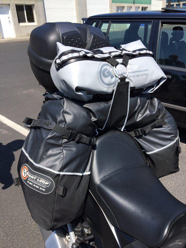 kawasaki versys 300 with coyote saddle bag and rogue drybag