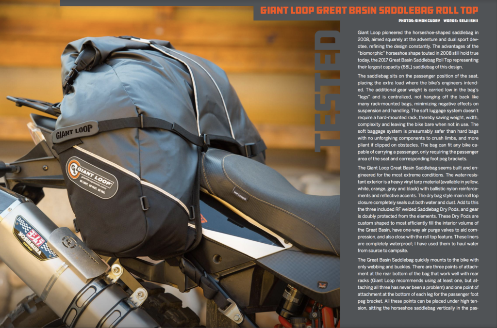Great Basin Saddlebag in Upshift Magazine