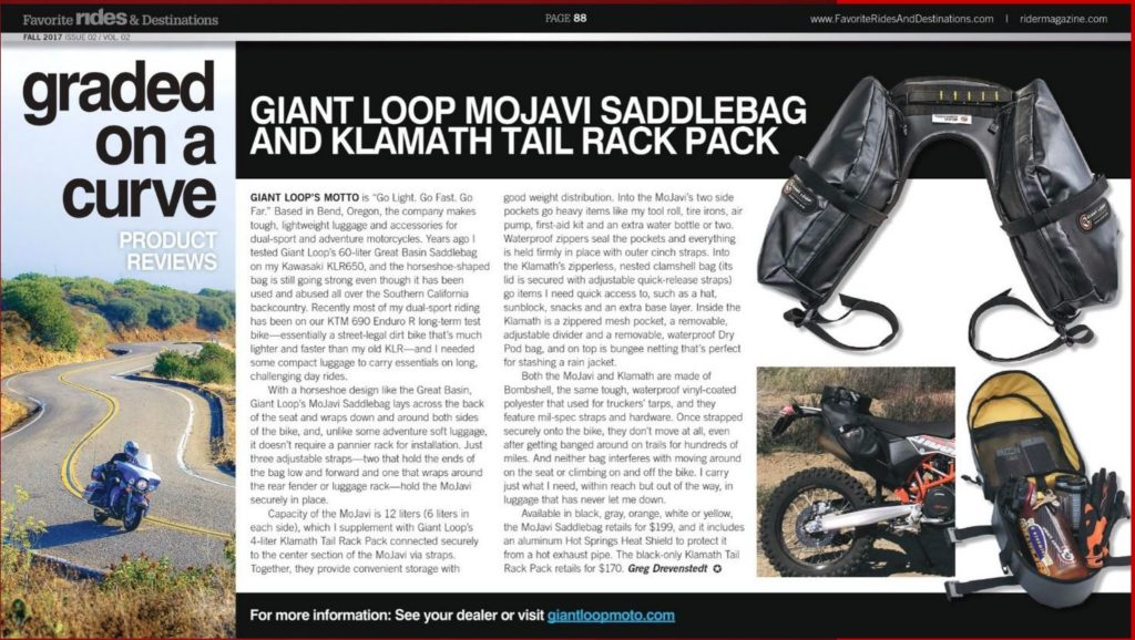 Favorite Rides and Destinations magazine review on mojavi saddlebag