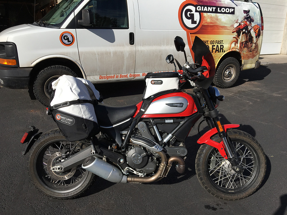 Ducati Scrambler with Giant Loop's Fandango Pro Tank Bag