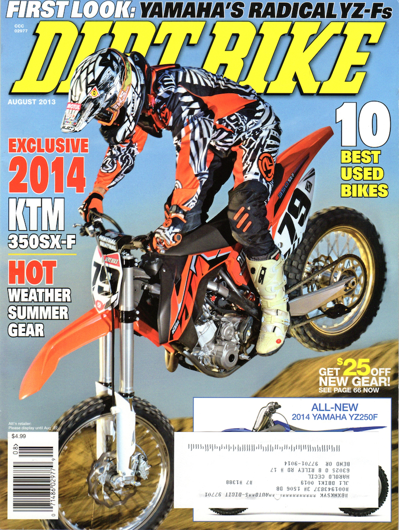 Giant Loop's Zigzag Handlebar Bag featured in Dirt Bike magazine, August 2013