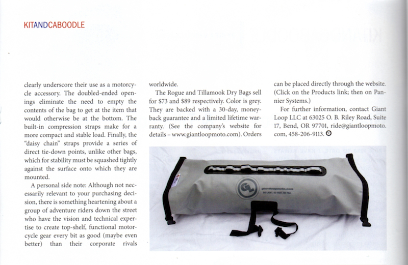 BMW ON magazine reviews Tillamook Dry Bag and Rogue Dry Bag