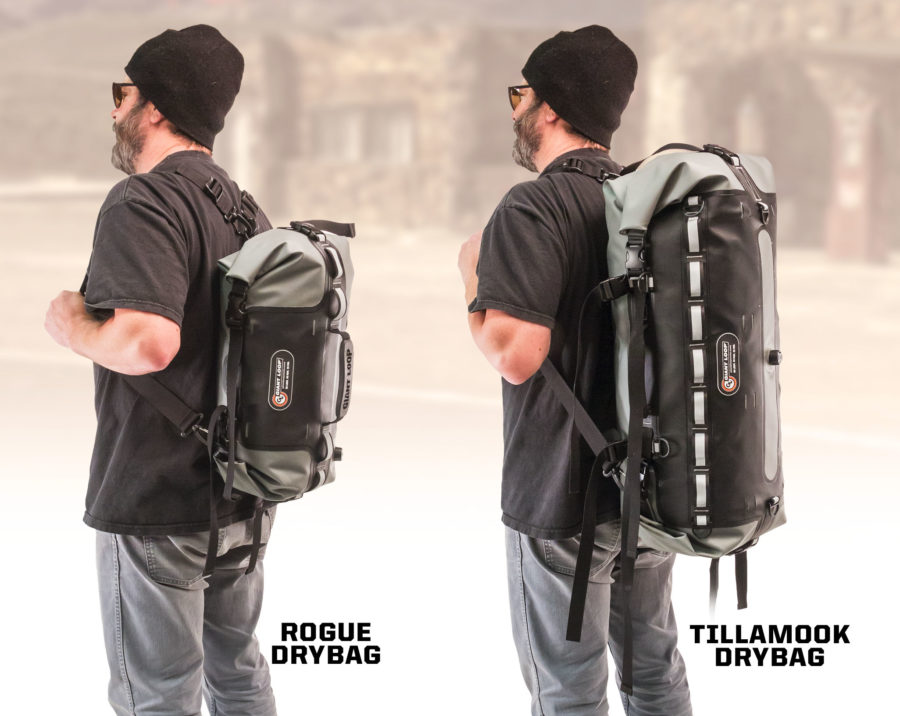 Rogue Dry Bag and Tillamook Dry Bag backpack carry