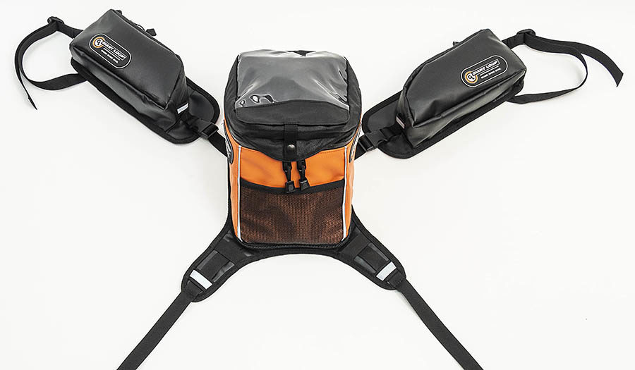 Pannier Pockets integrate with Giant Loop Tank Bag Harness