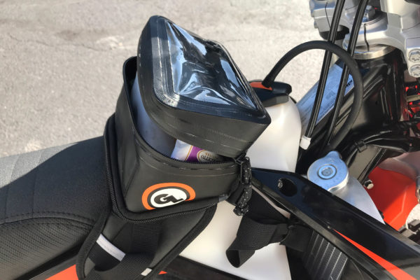 Buckin Roll Tank Bag mounted on dual sport