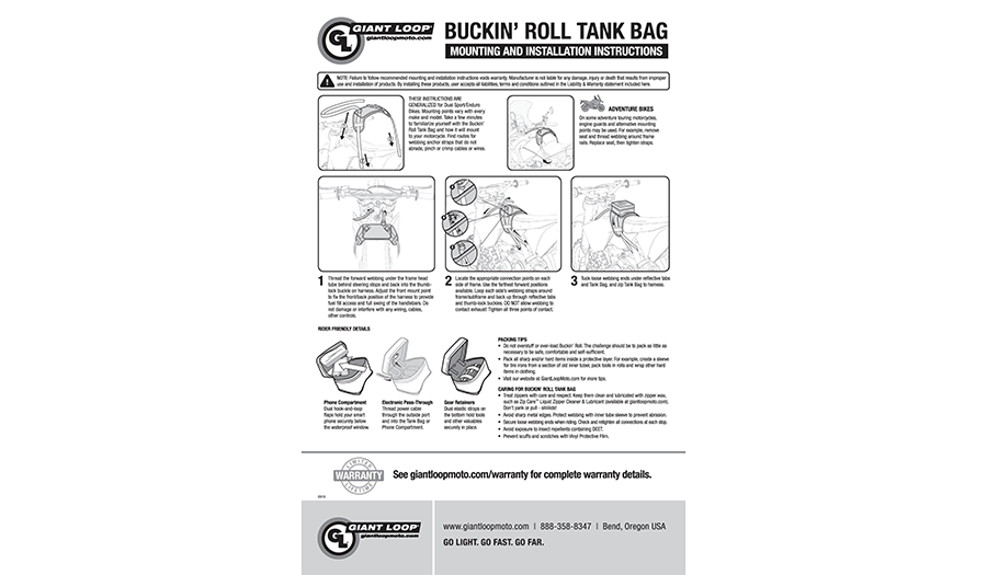 Buckin Roll Tank Bag instructions