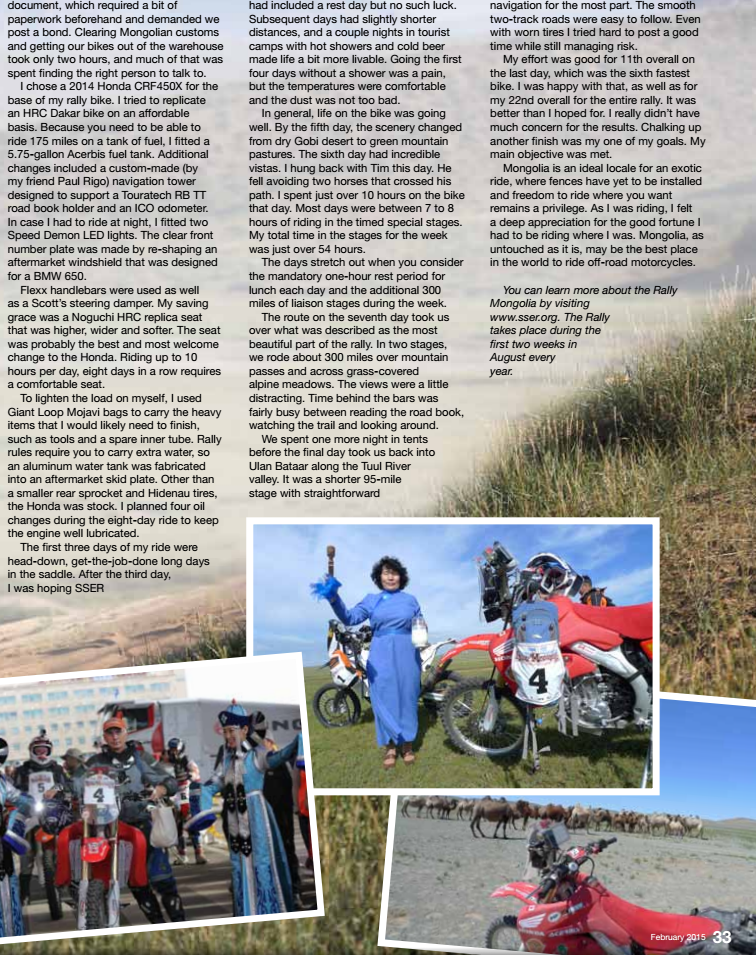Motorcycling Mongolia by Lawrence Hacking in AMA magazine