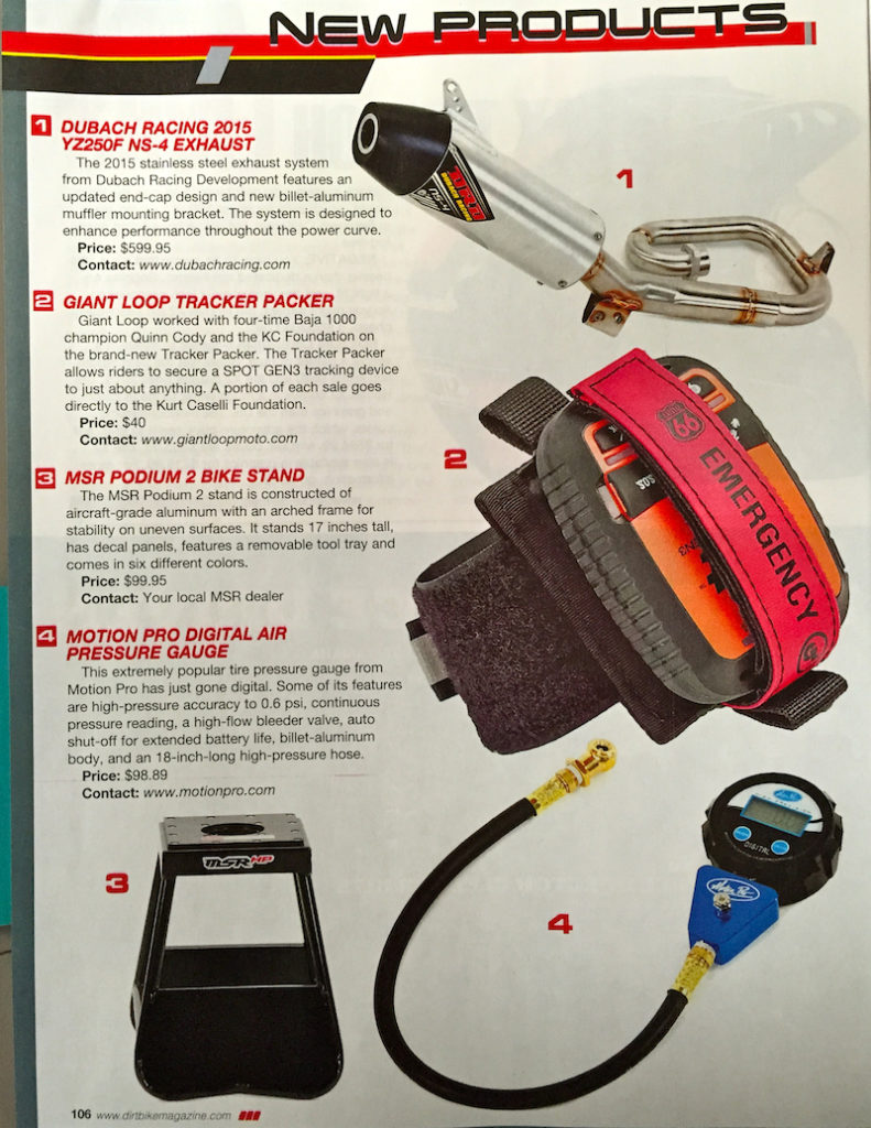 Dirt Bike Magazine's New Products, May 2015: Giant Loop Tracker Packer for SPOT Gen3