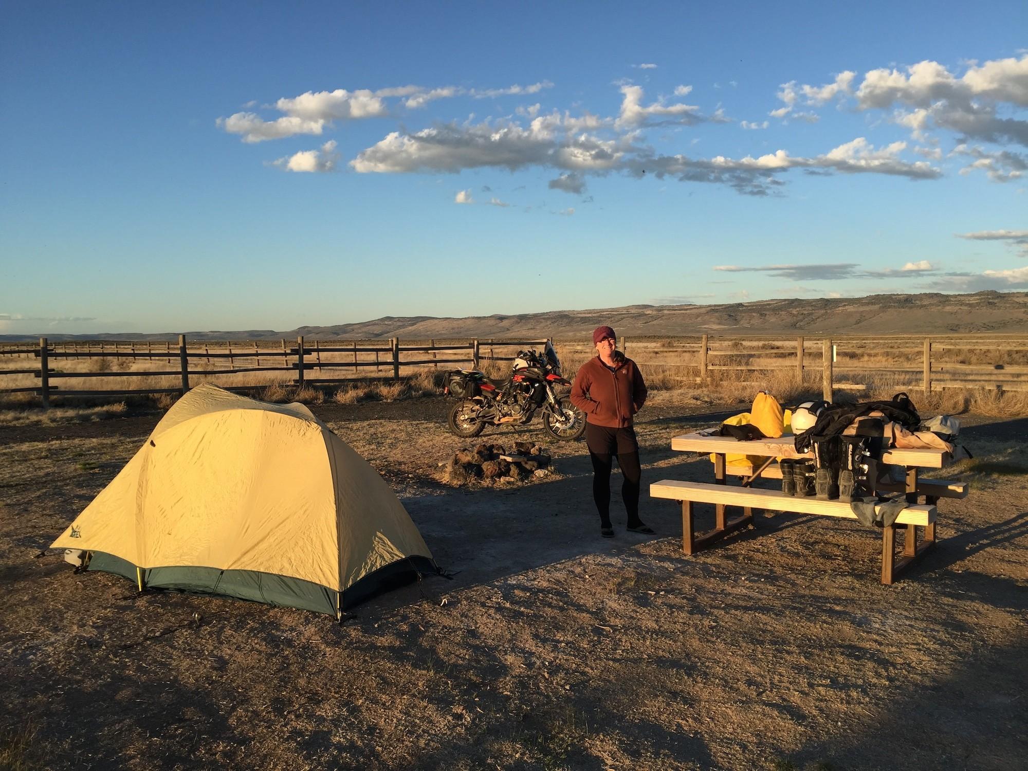 Motorcycle camping at Crystal Crane Hot Springs