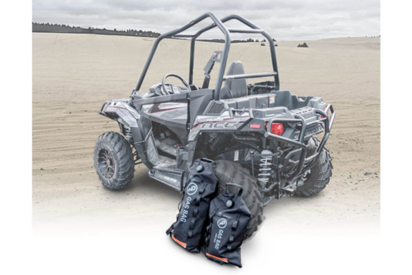 3 and 5 gallon Fuel Safe Gas Bags with a Polaris side by side