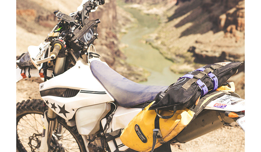Donni Reddington's Husqvarna FE501 with Giant Loop's Fender Bag, Zigzag Handlebar Bag, MoJavi Saddlebag, Pronghorn Straps, Gas Bag Fuel Safe Bladder