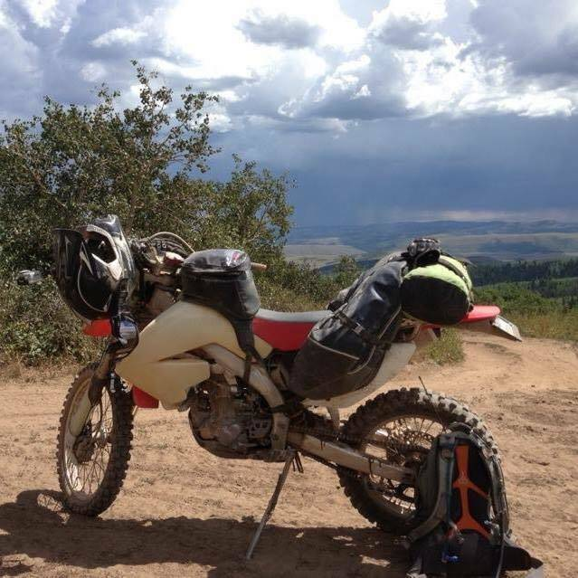 Honda CRF with Coyote Saddlebag and Fandango Tank Bag