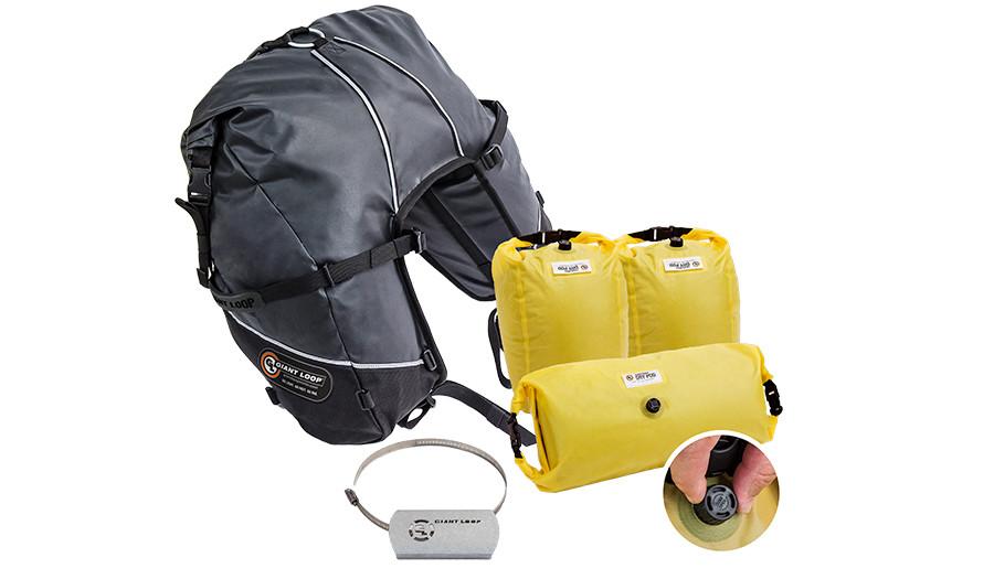 Great Basin Saddlebag Roll Top included components: set of 3 Saddlebag Dry Pods + 1 Hot Springs Heat Shield kit