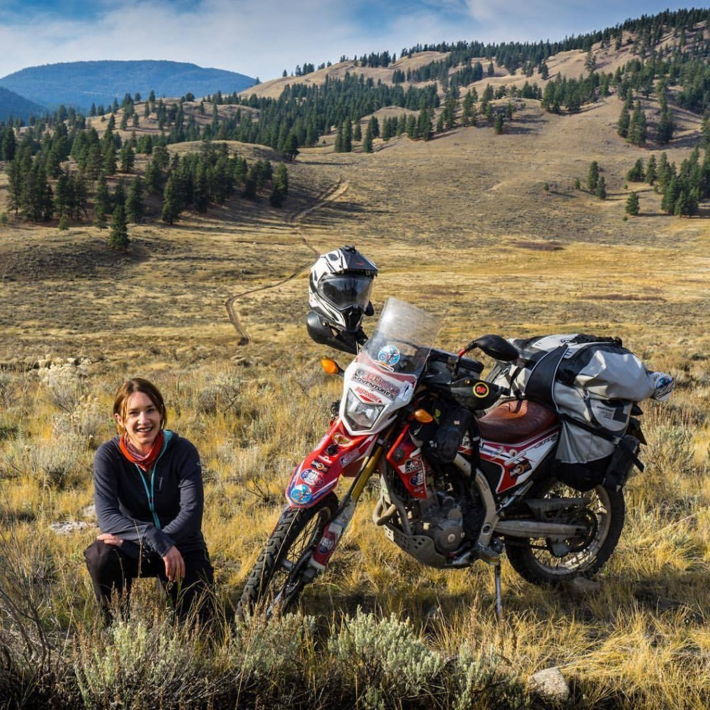 Steph Jeavons on Honda CRF250L with Great Basin Saddlebag, Fandango Pro Tank Bag, Pannier Pockets, Tillamook Dry Bag