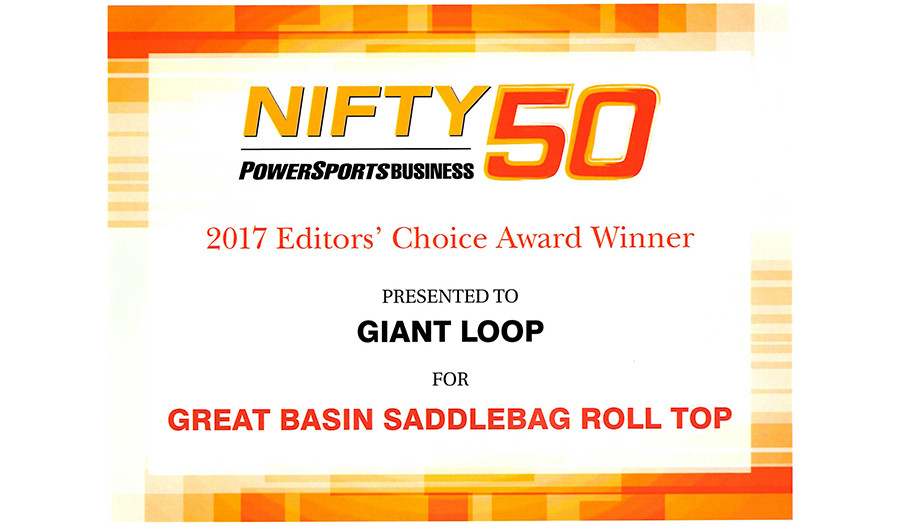 2017 Nifty 50 best new products award from Powersports Business Great Basin Saddlebag Roll Top