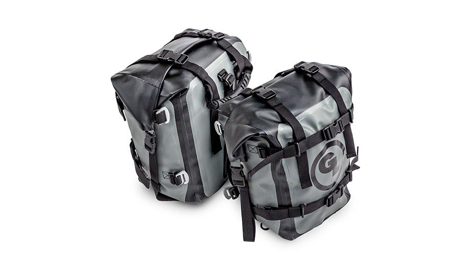 Giant Loop MotoTrekk Panniers waterproof rack-mounted soft luggage for motorcycles.