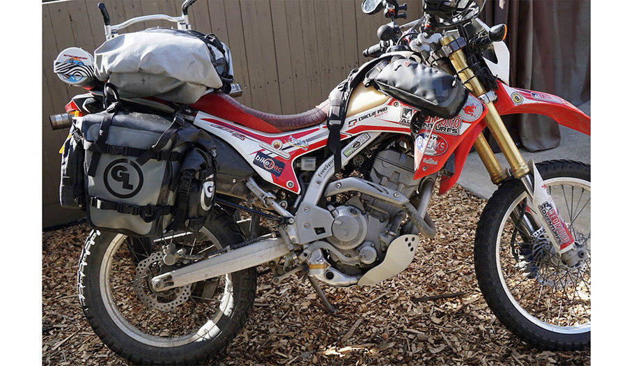 Giant Loop's MotoTrekk Panniers on Steph Jeavons's Honda CRF250L