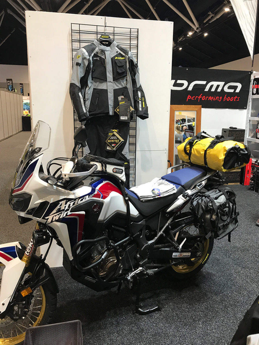 MotoTrekk Panniers on Honda Africa Twin at Sydney Motorcycle Show