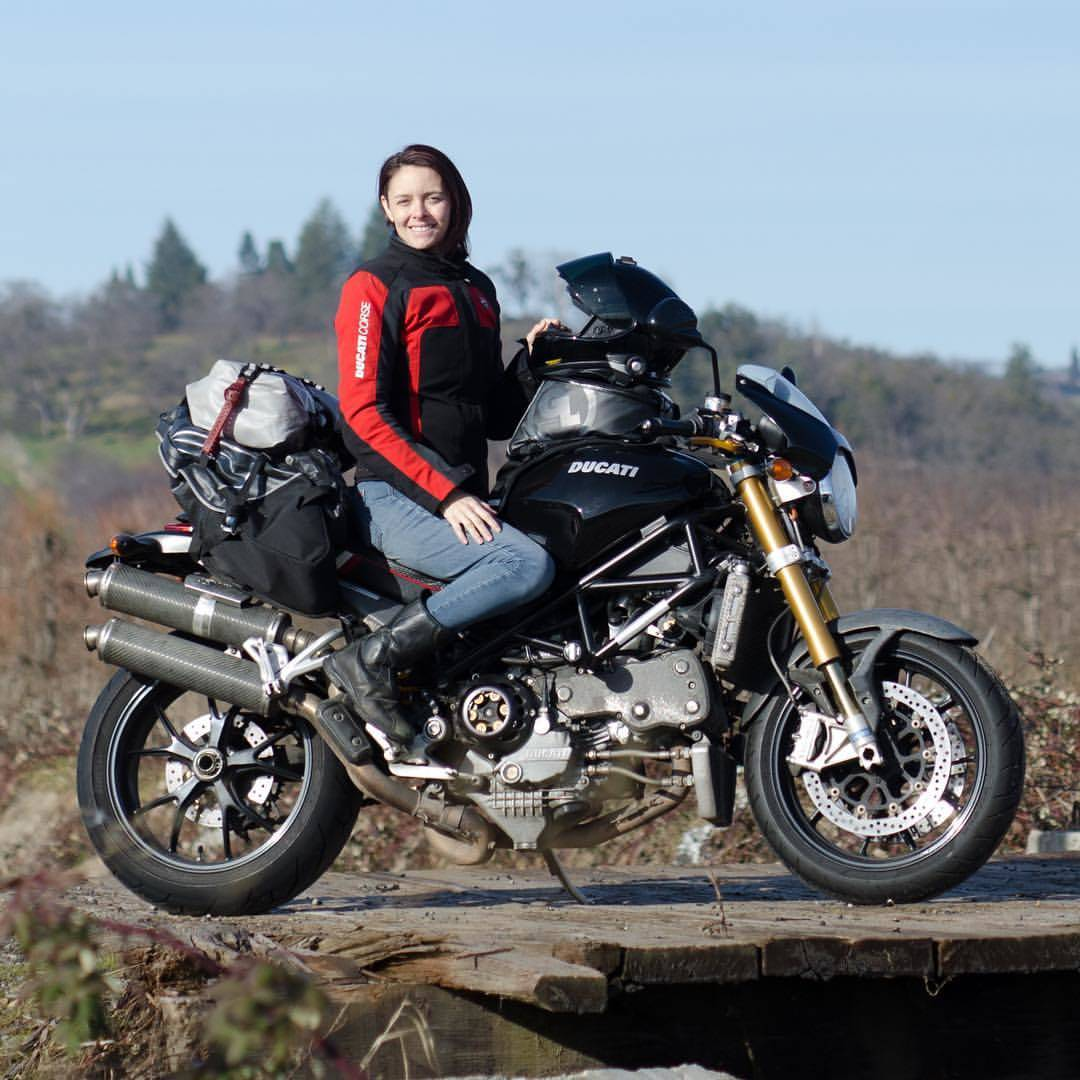 Lauren Trantham of Ride My Road on her Ducati Monster equipped with Giant Loop's Rogue Dry Bag, Pronghorn Straps, Coyote Saddlebag and Fandango Pro Tank Bag