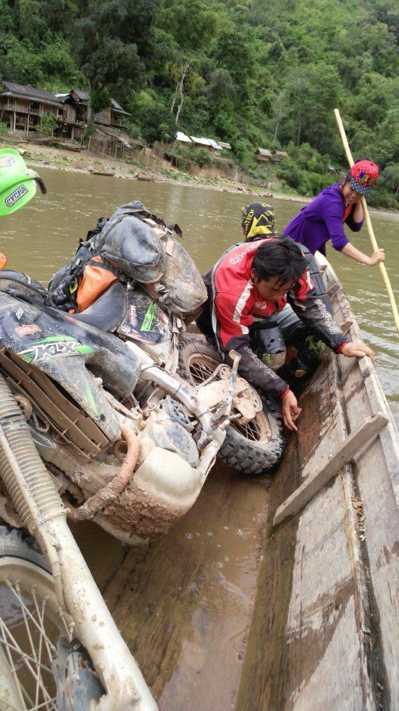 Local transportation in Laos. Need more capacity? Motolao guide, Chris piggy-backs a Mojavi Saddle bag on a Coyote Saddlebag.