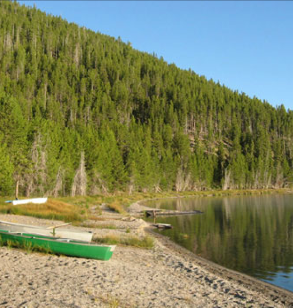 Private shoreline at Giant Loop's 2017 Volcano Camp.