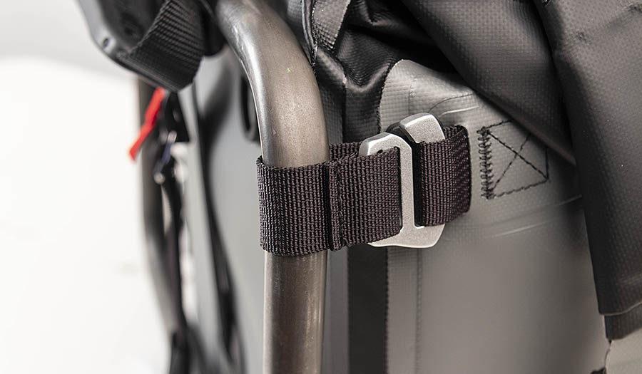 MotoTrekk Panniers anchor strap and hook detail