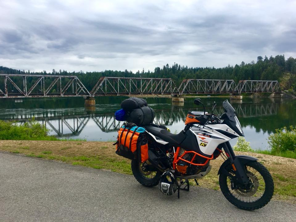 Two-up motorcycle camping on KTM Adventure with Giant Loop's Round The World Panniers, GL Pannier Mounts + Fandango Pro Tank Bag