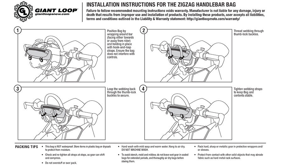 Giant Loop Snow Zigzag Handlebar Bag instructions
