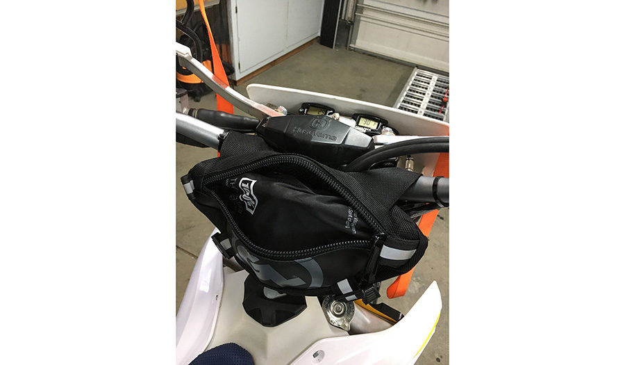 Zigzag Handlebar Bag on Husqvarna Timbersled