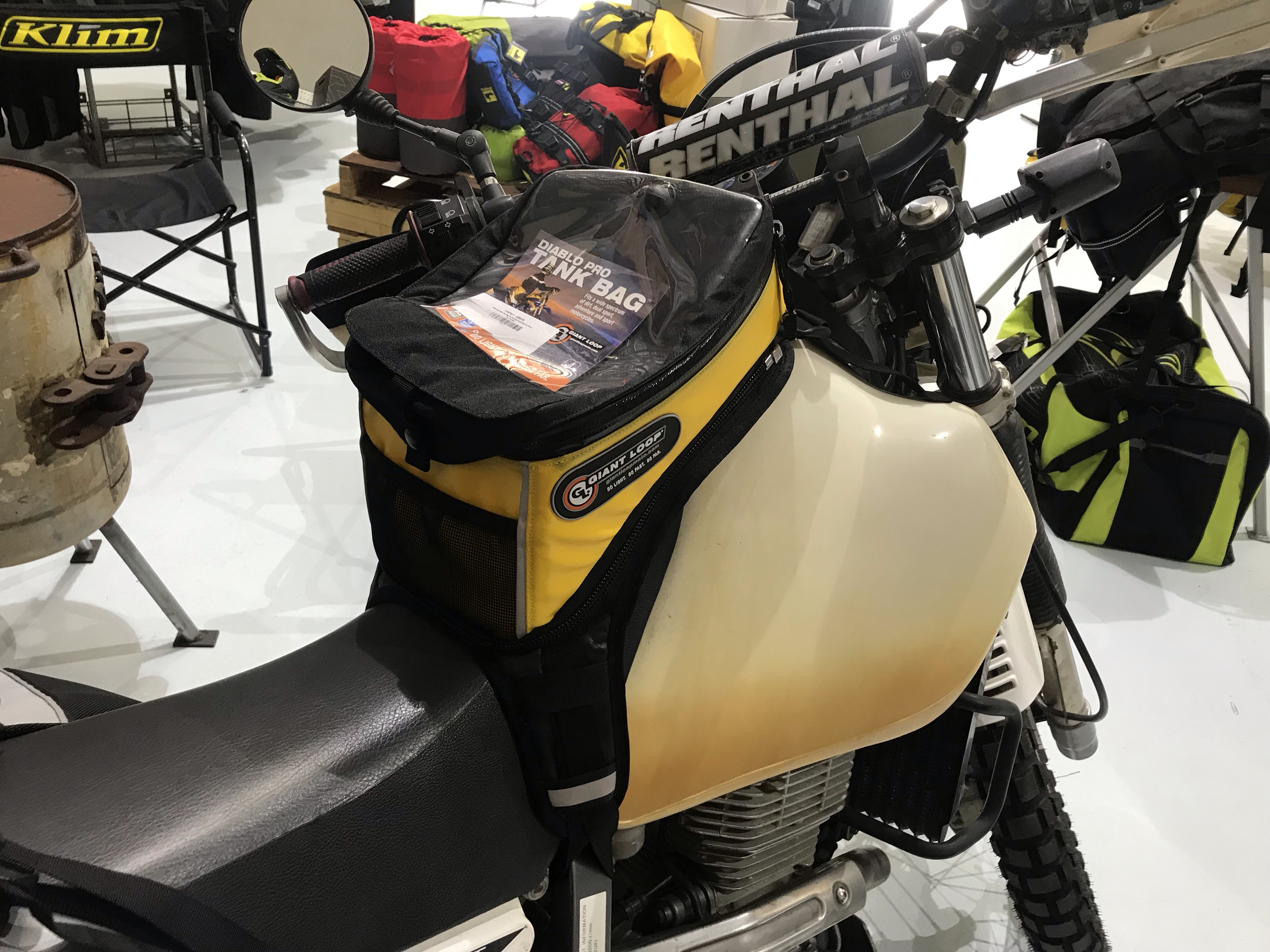 Suzuki DR 650 with Coyote Saddlebag, Diablo Pro Tank Bag, Fender Bag, Tillamook Dry Bag