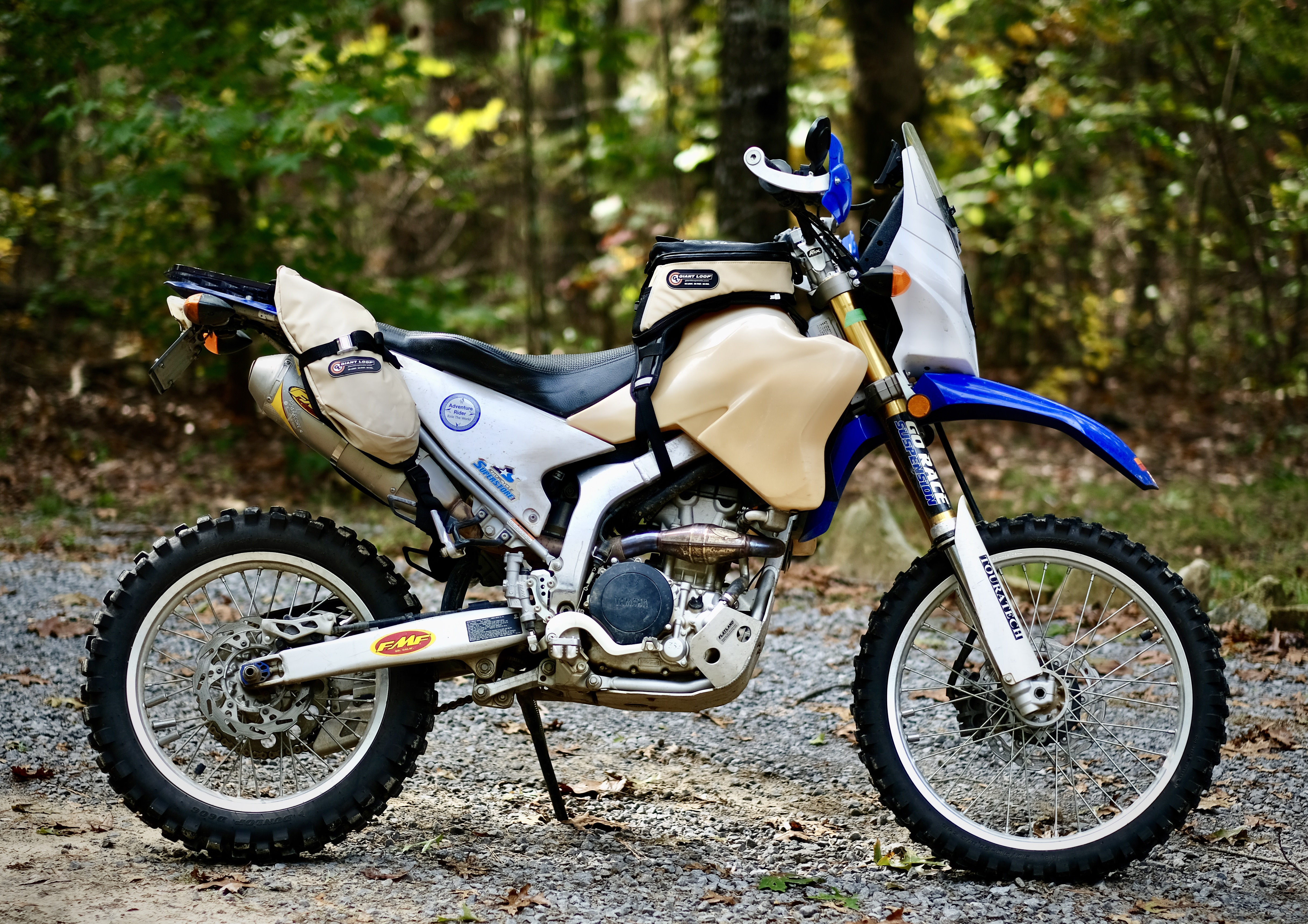 MoJavi Saddlebag and Diablo Tank Bag on a Yamaha WR250R