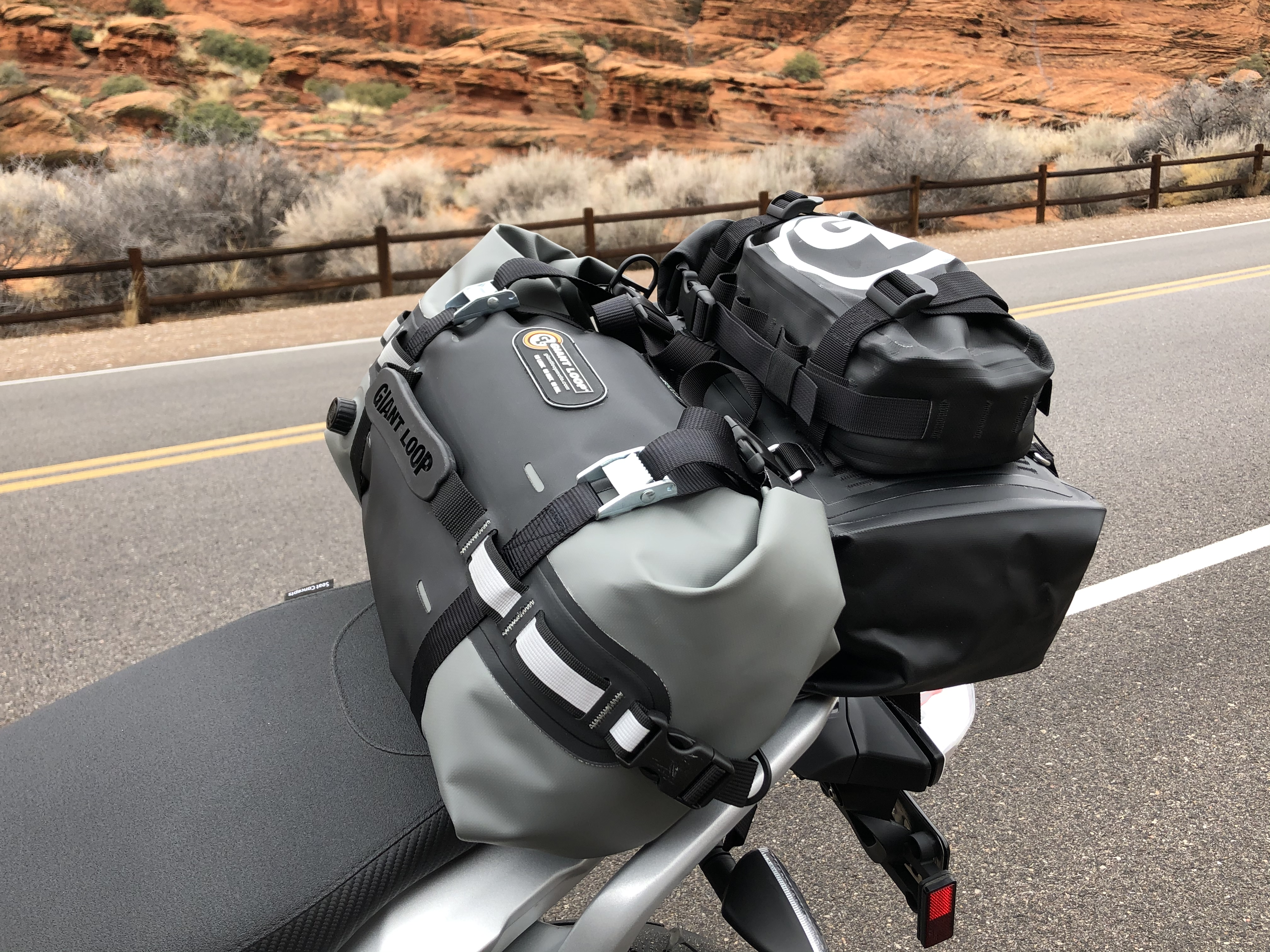 Revelstoke Tunnel Bag on a BMW G310GS