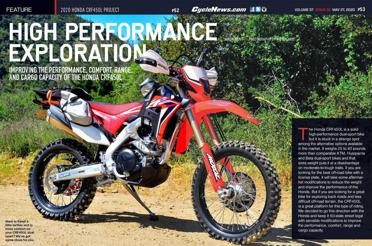Cycle News Honda CRF450L Project Bike Decked Out with Giant Loop