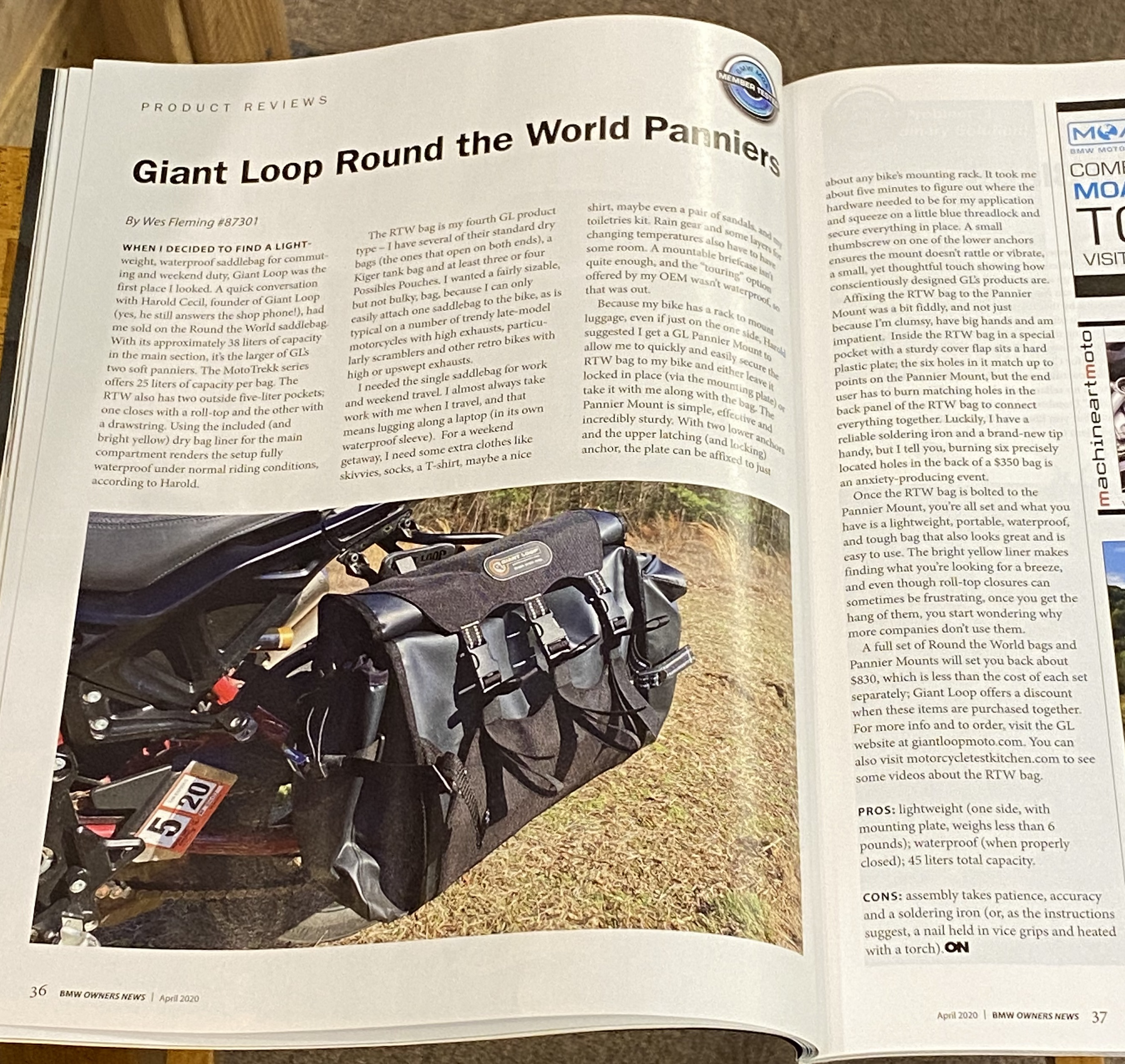 Round The World Panniers Featured in BMW Owners News Magazine