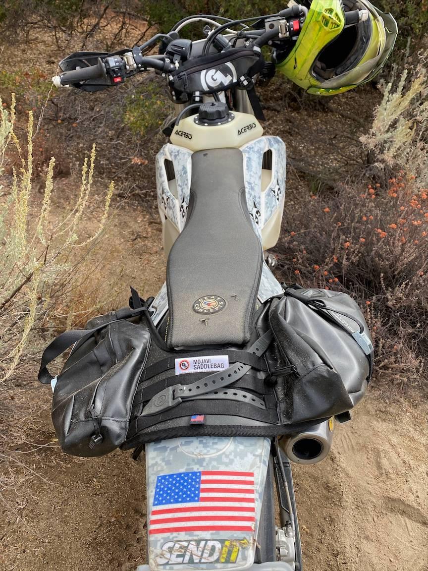 Mojavi Saddlebags and Zigzag Handlebar Bag on a 2018 Husqvarna 501