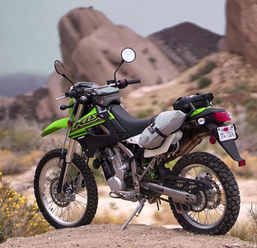 GL Buckin' Roll, MoJavi and Possibles Pouch on a Kawasaki KLX300