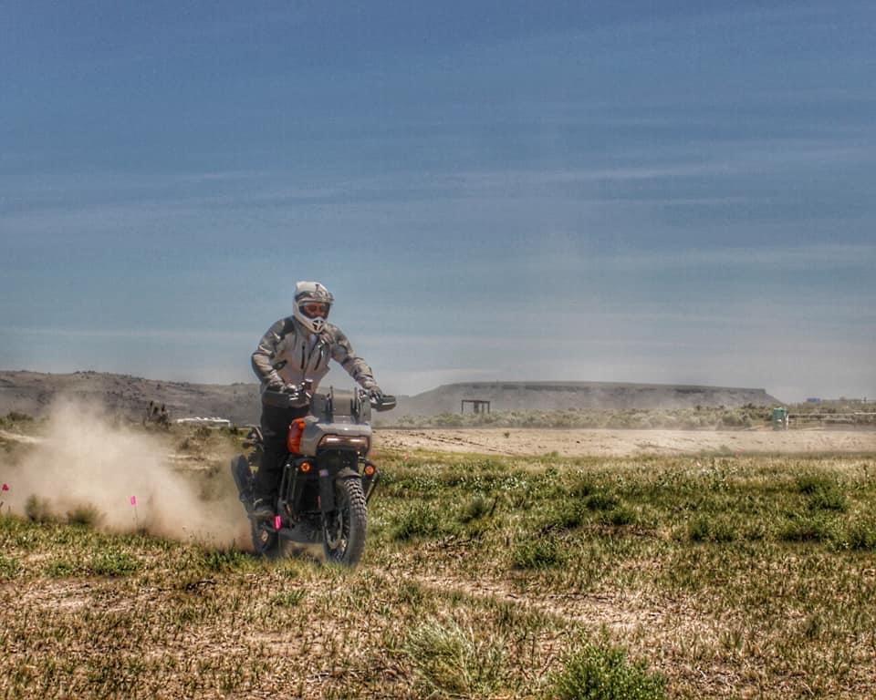 Harold Olaf Cecil rides demo Harley-Davidson Pan America at Giant Loop Ride