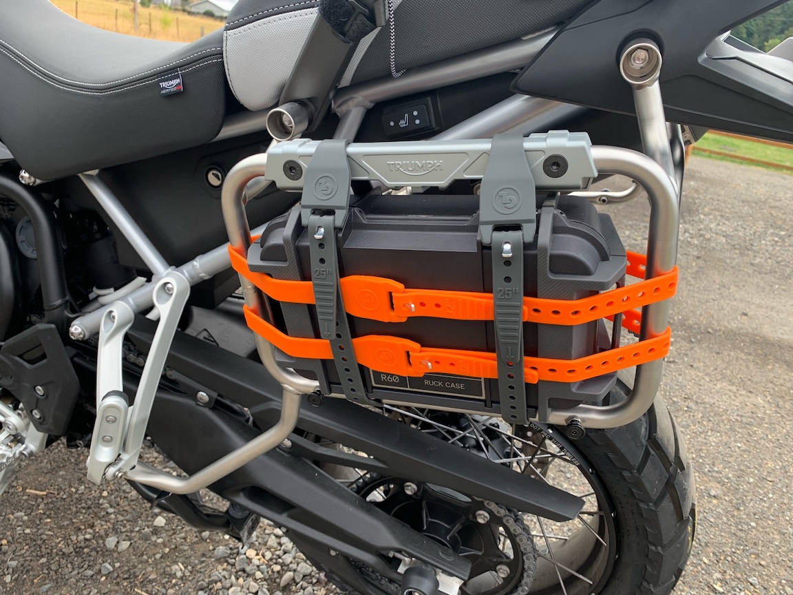 GL Pronghorn Straps on a Triumph Rally Pro