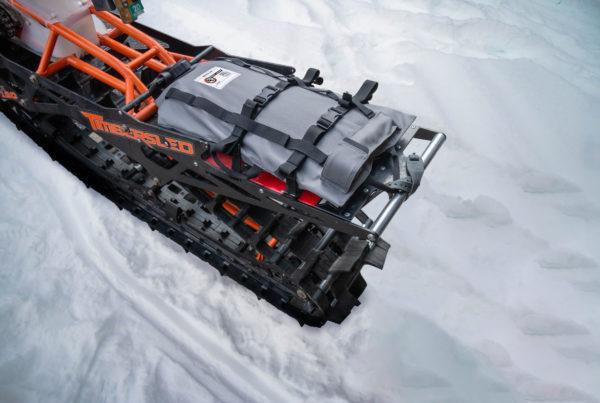 3 gallon Armadillo Bag on Tmbersled snow bike